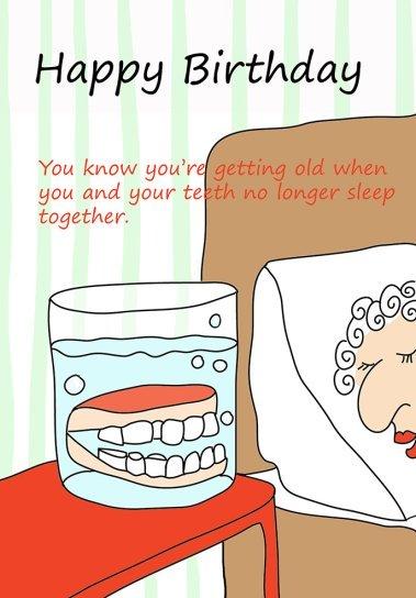 Happy birthday card teeth in glas