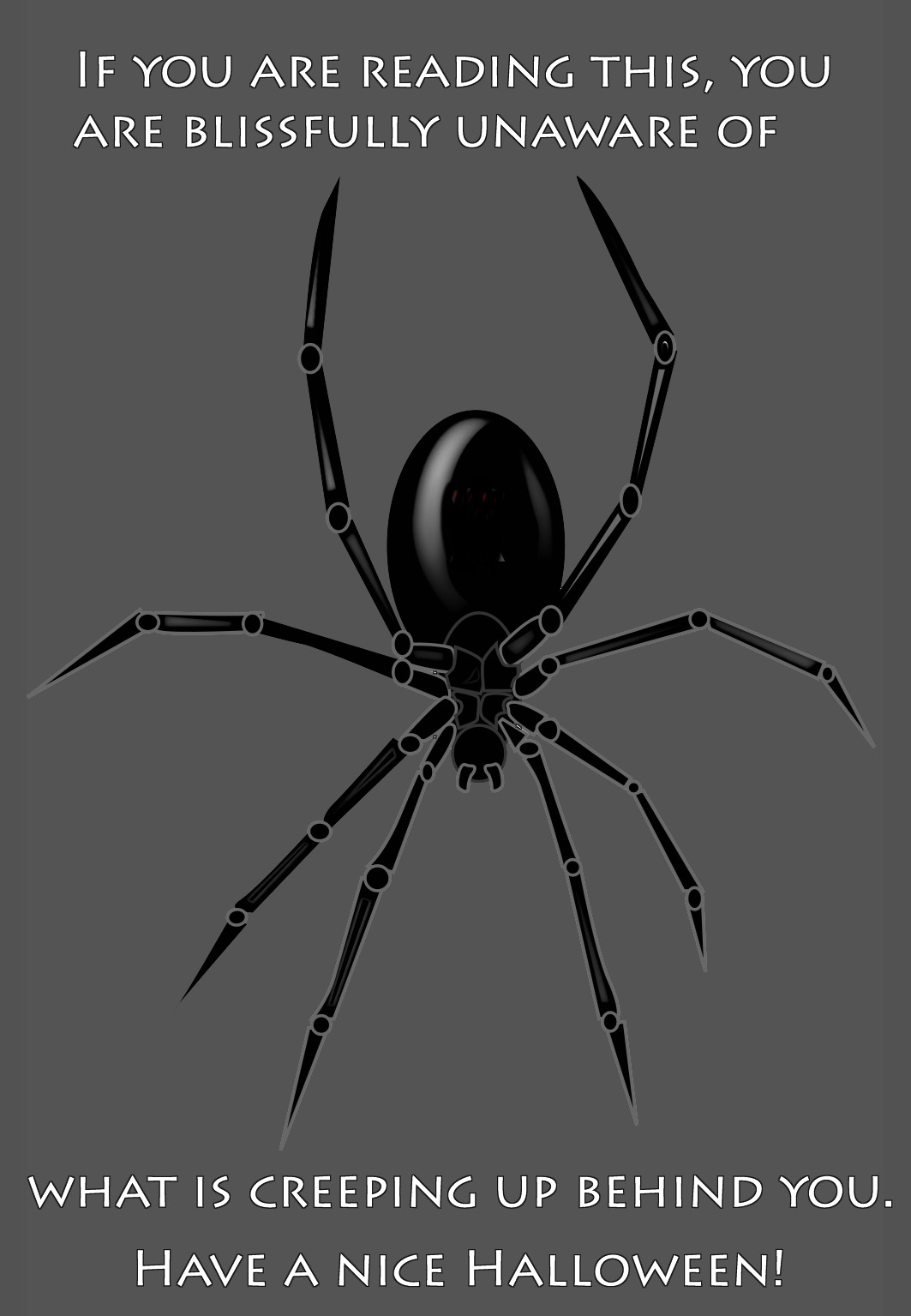spider creeping up behind you card