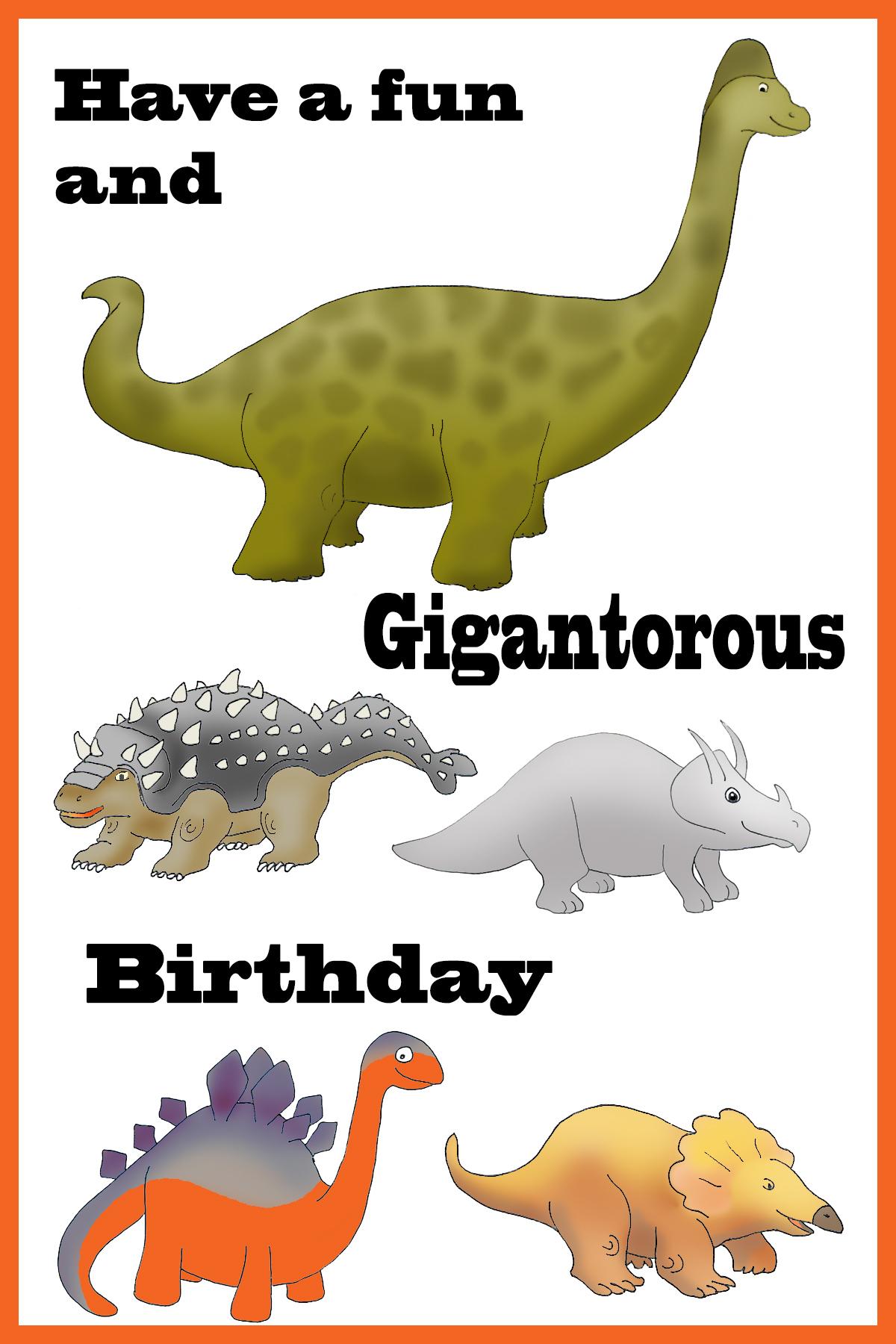 funny dino birthday card
