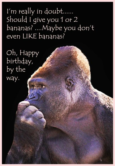 funny Birthday card with a gorilla