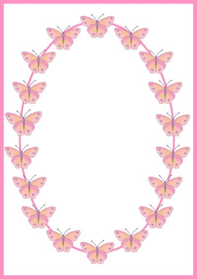 Frame with pink butterflies