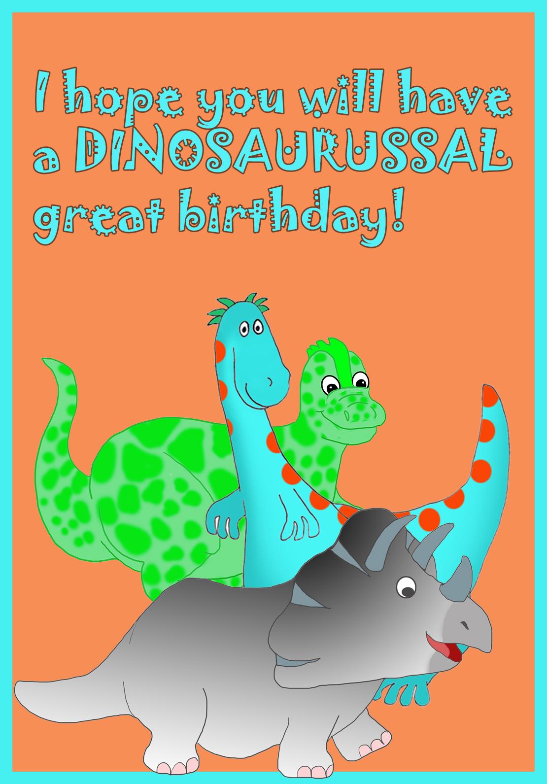 dinosaur birthday greeting card