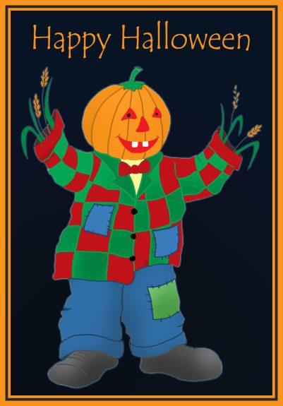 pumpkin man halloween card