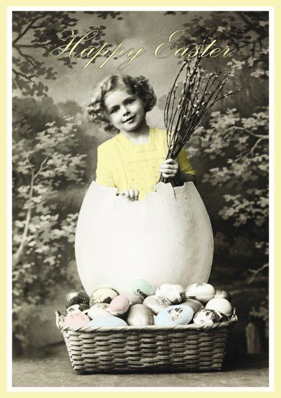 Funny Easter greeting card old motive