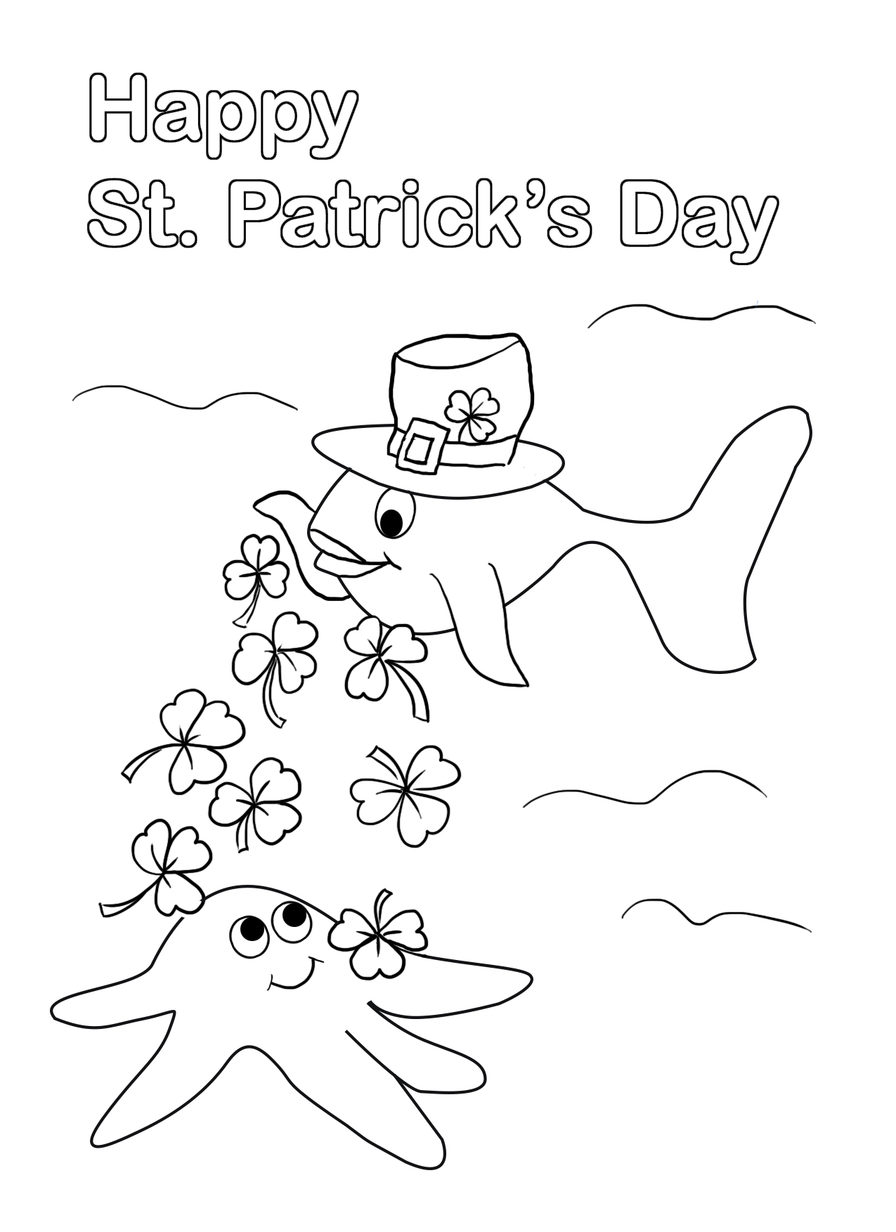 coloring page for St. Patrick's day with fish