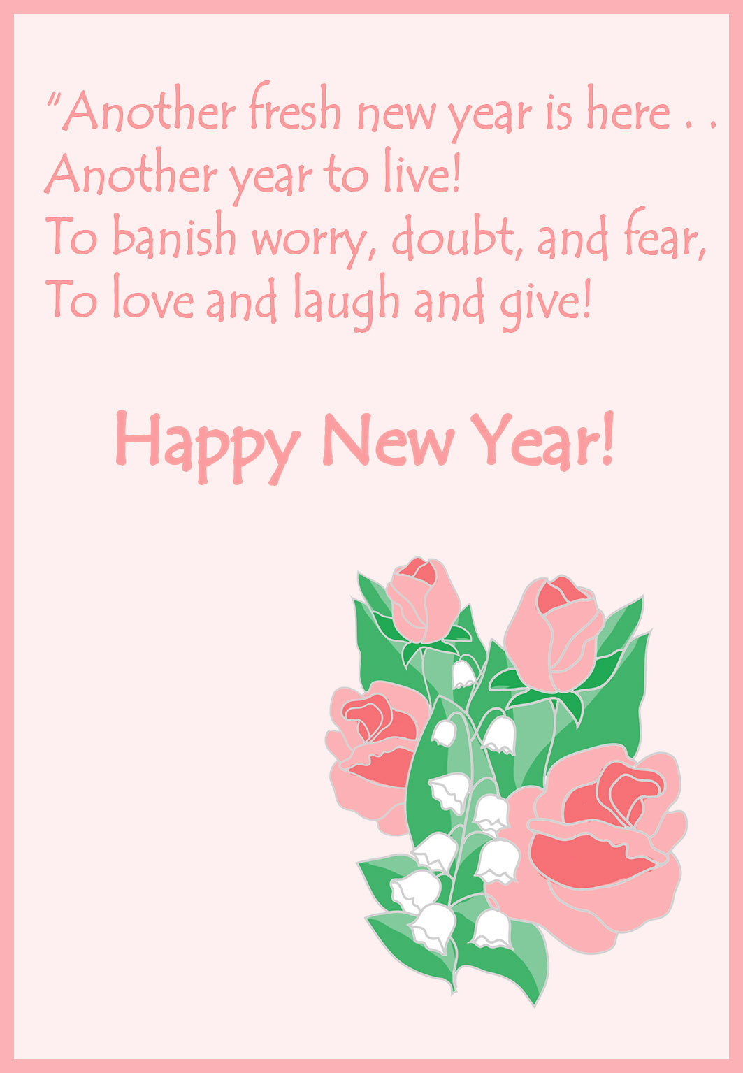 New Year card with roses and wishes