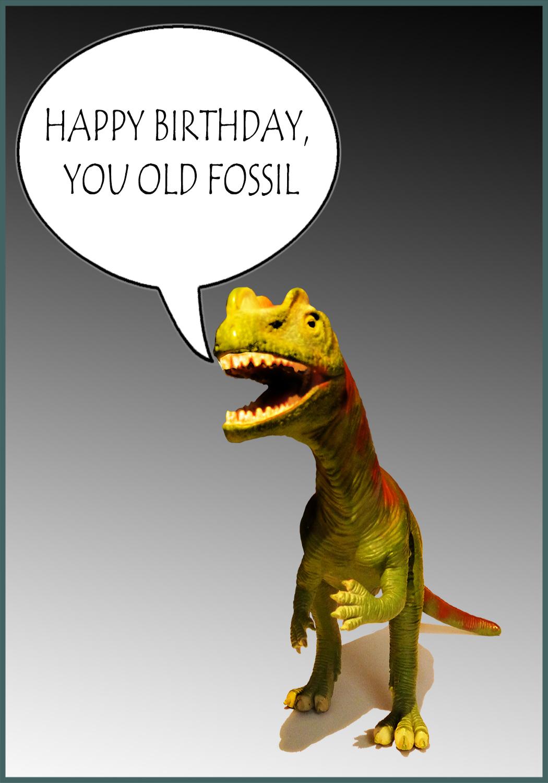 old fossil dino birthday card
