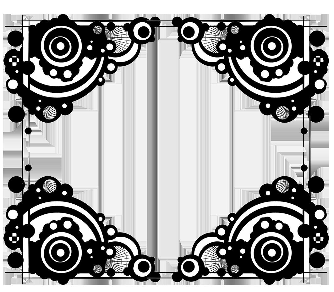 frame black white circles