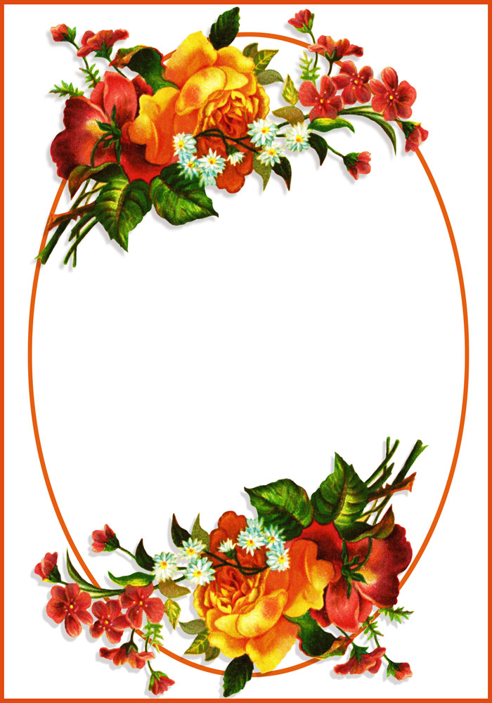 oval frame with flowers