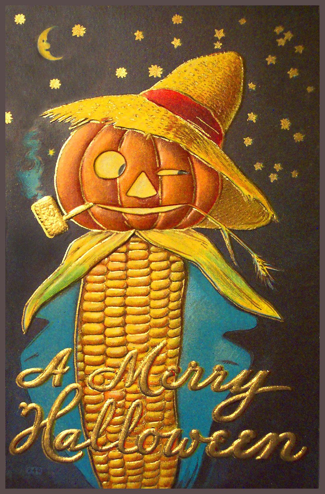 Halloween corn scarcrow