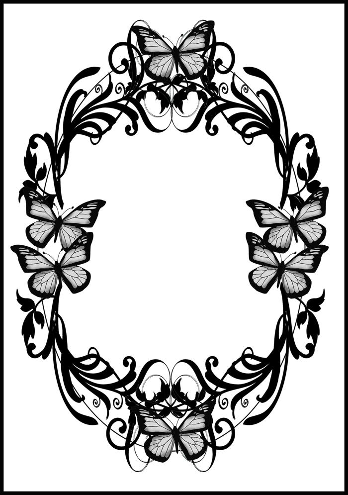 black white butterfly border frame