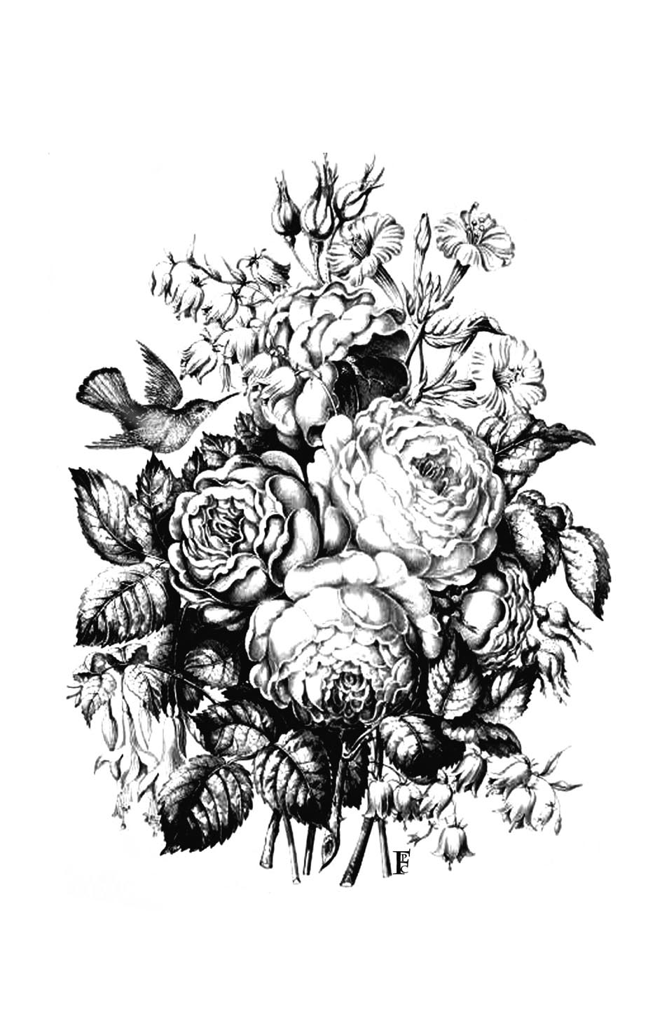 bouquet with roses and a bird