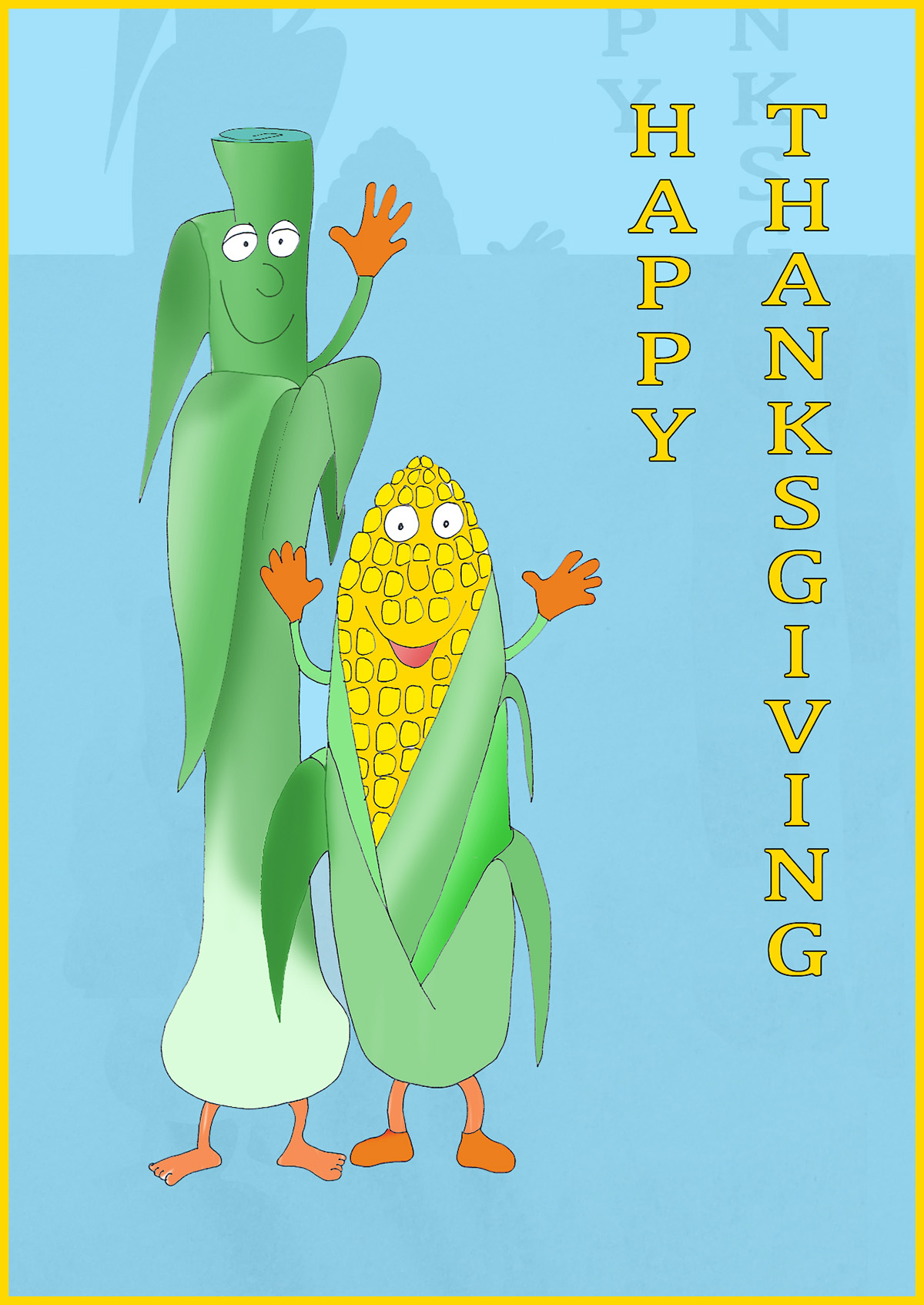 Happy thanksgiving card with corn and porridge