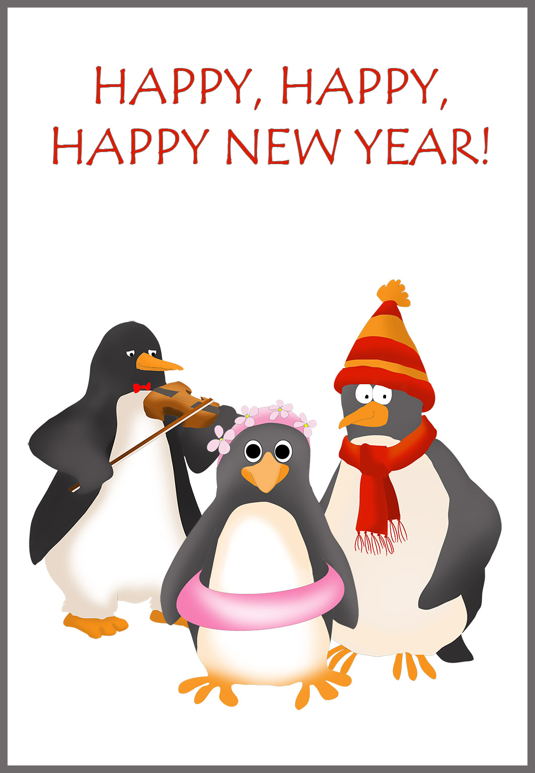 penguins wishing you a happy New Year
