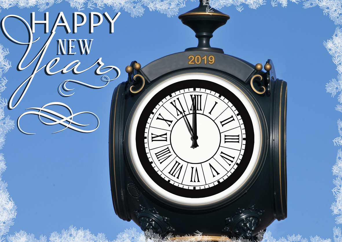 Vintage New Year clock greeting 2019