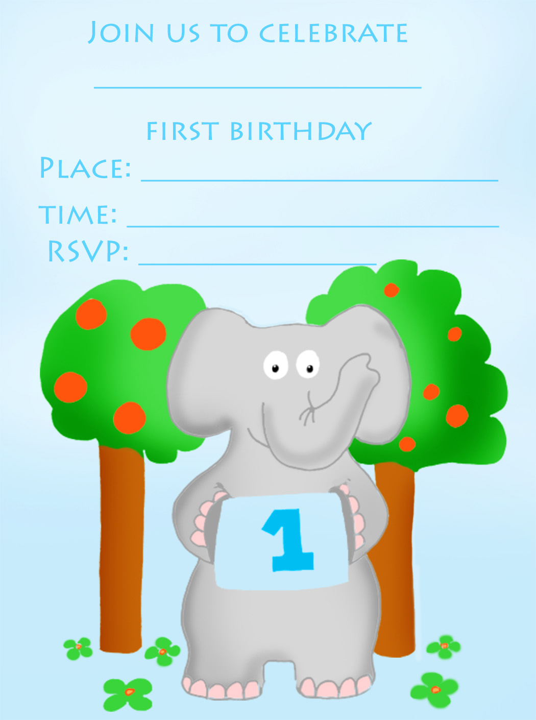 1st birthday invitation to print with elephant