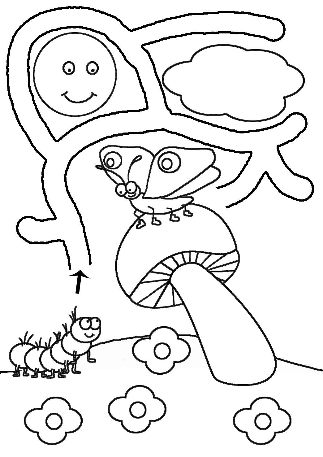 catarpillar and butterfly maze for kindergarten
