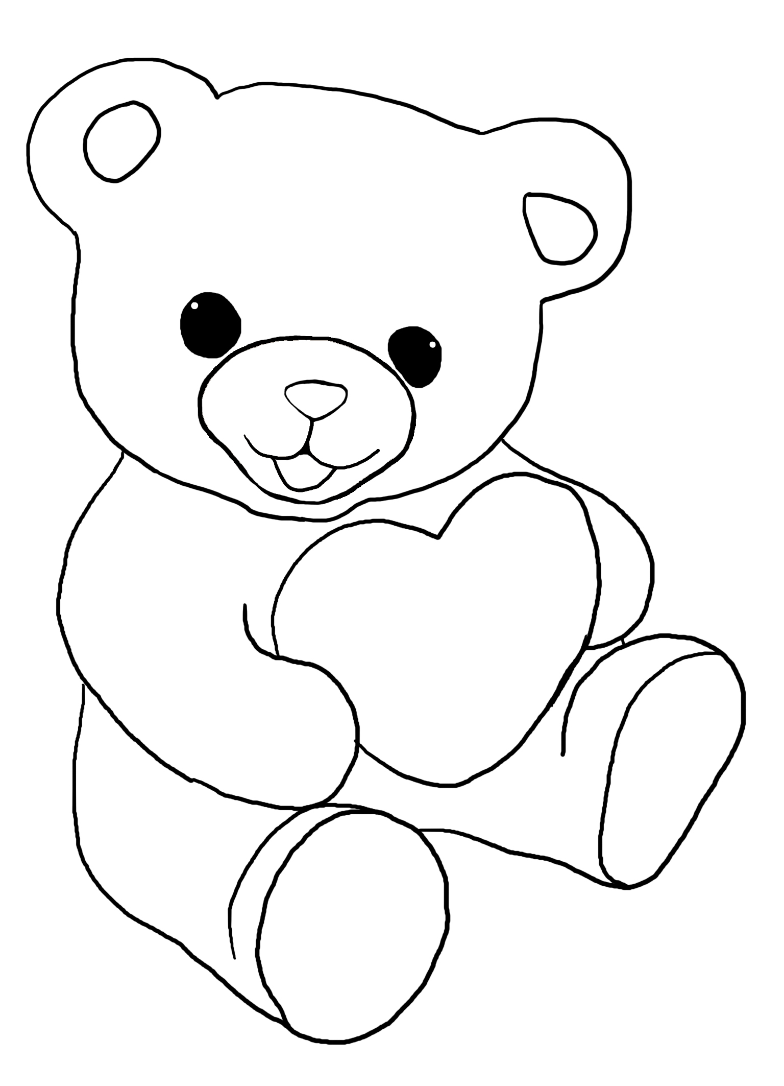 Teddy bear with a heart for coloring for kids