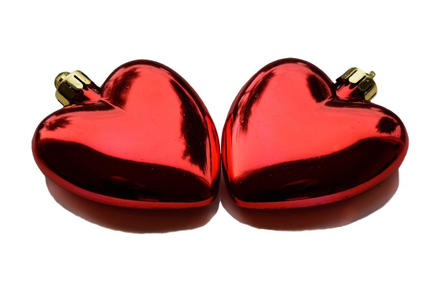 two red Christmas heart decorations