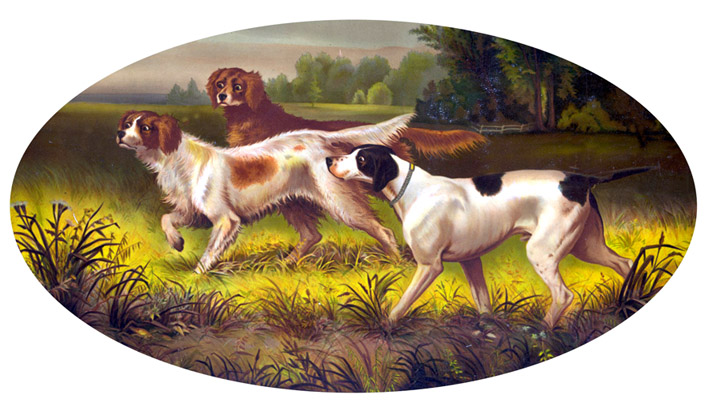 Victorian clipart of hunting dogs
