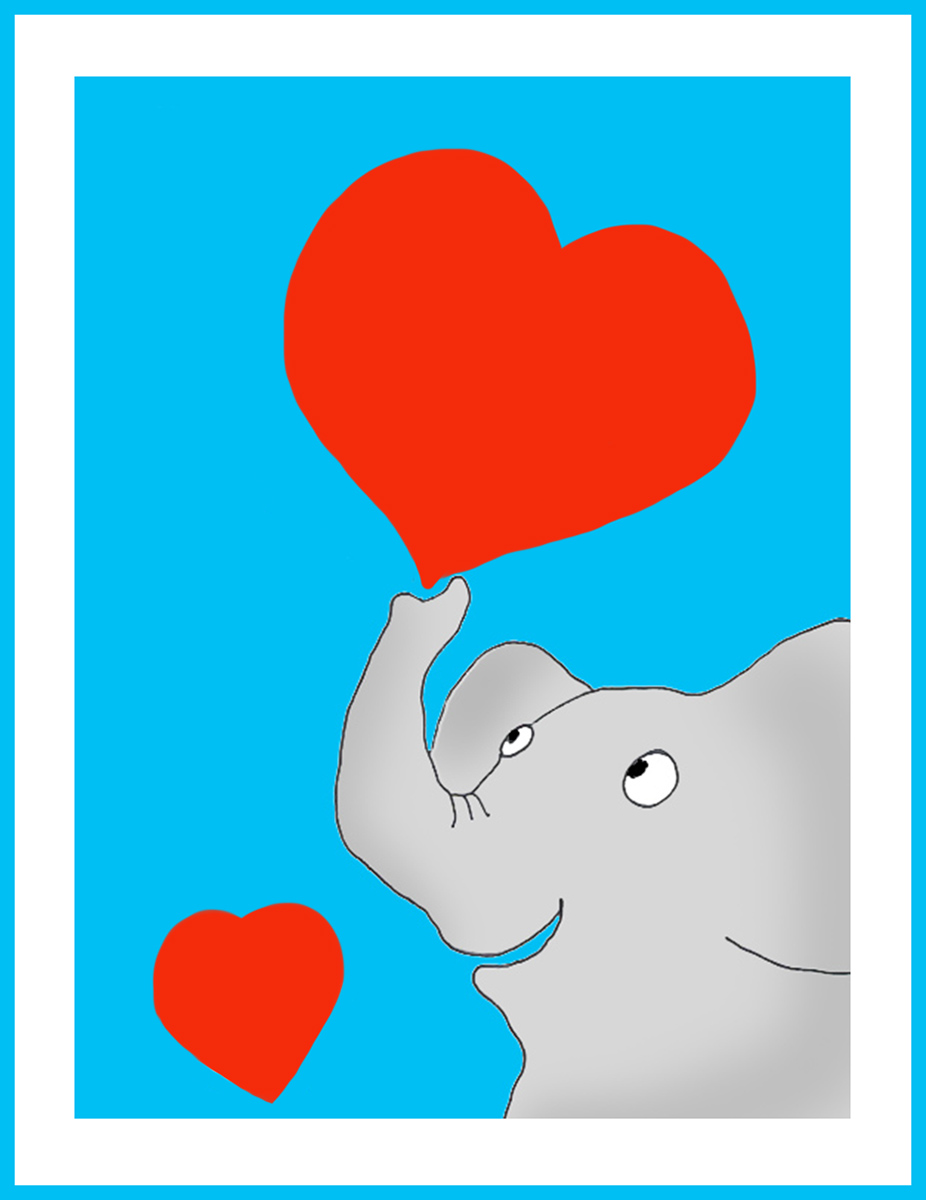 Valentine card with elephant and hearts