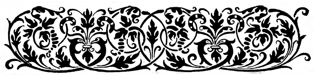 Victorian border with swirls and leaves