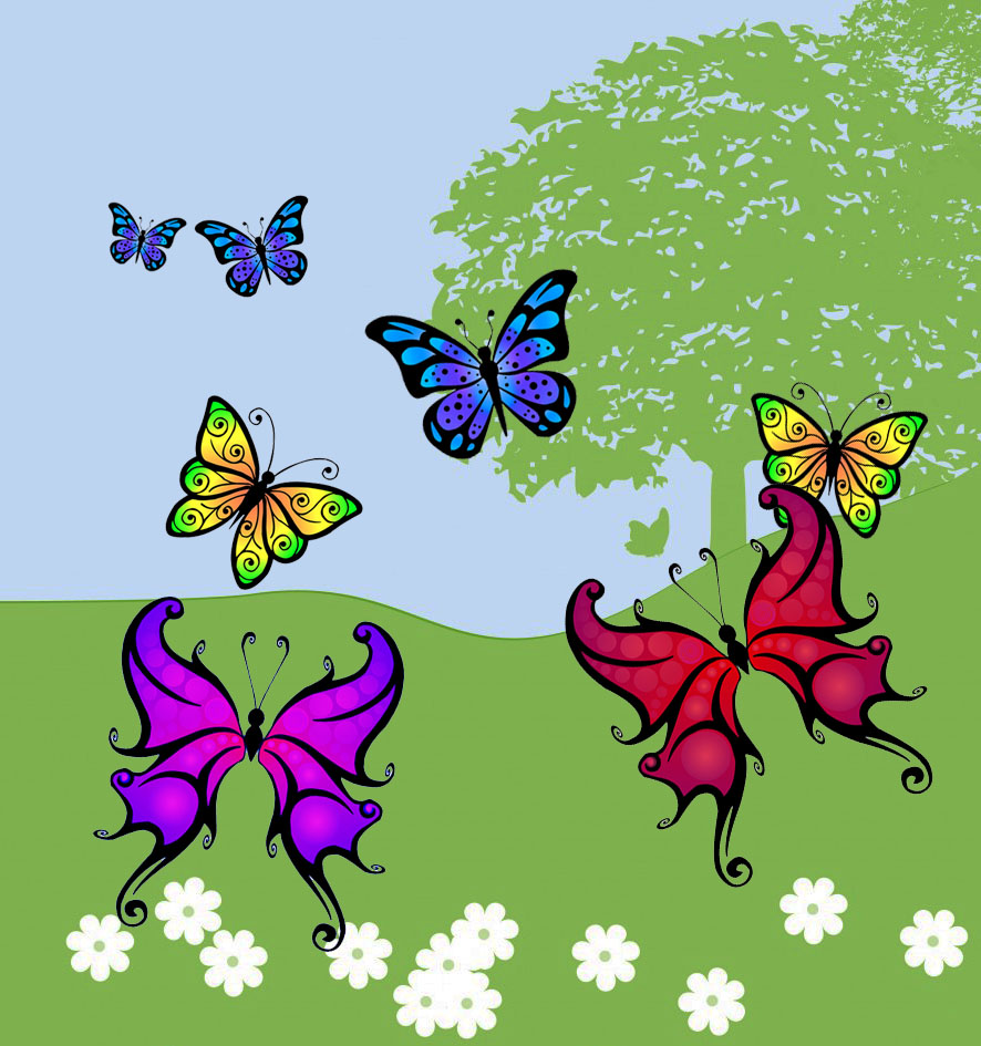 picture with butterfly clipart