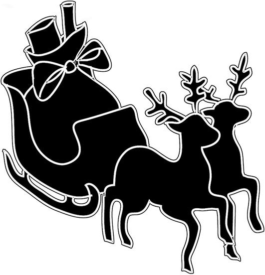 Christmas sleigh and reindeer silhouette