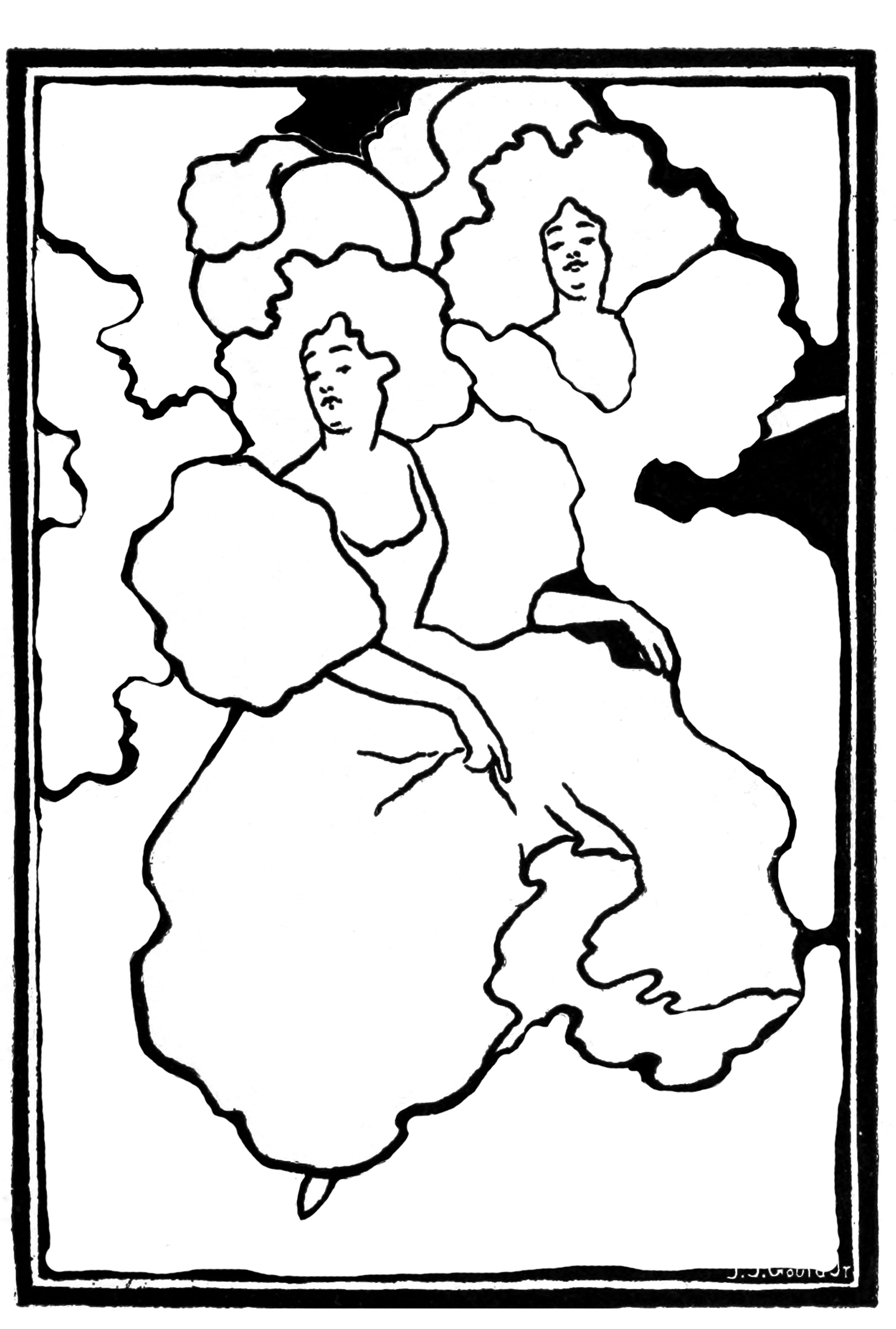 Cancan dacers coloring page