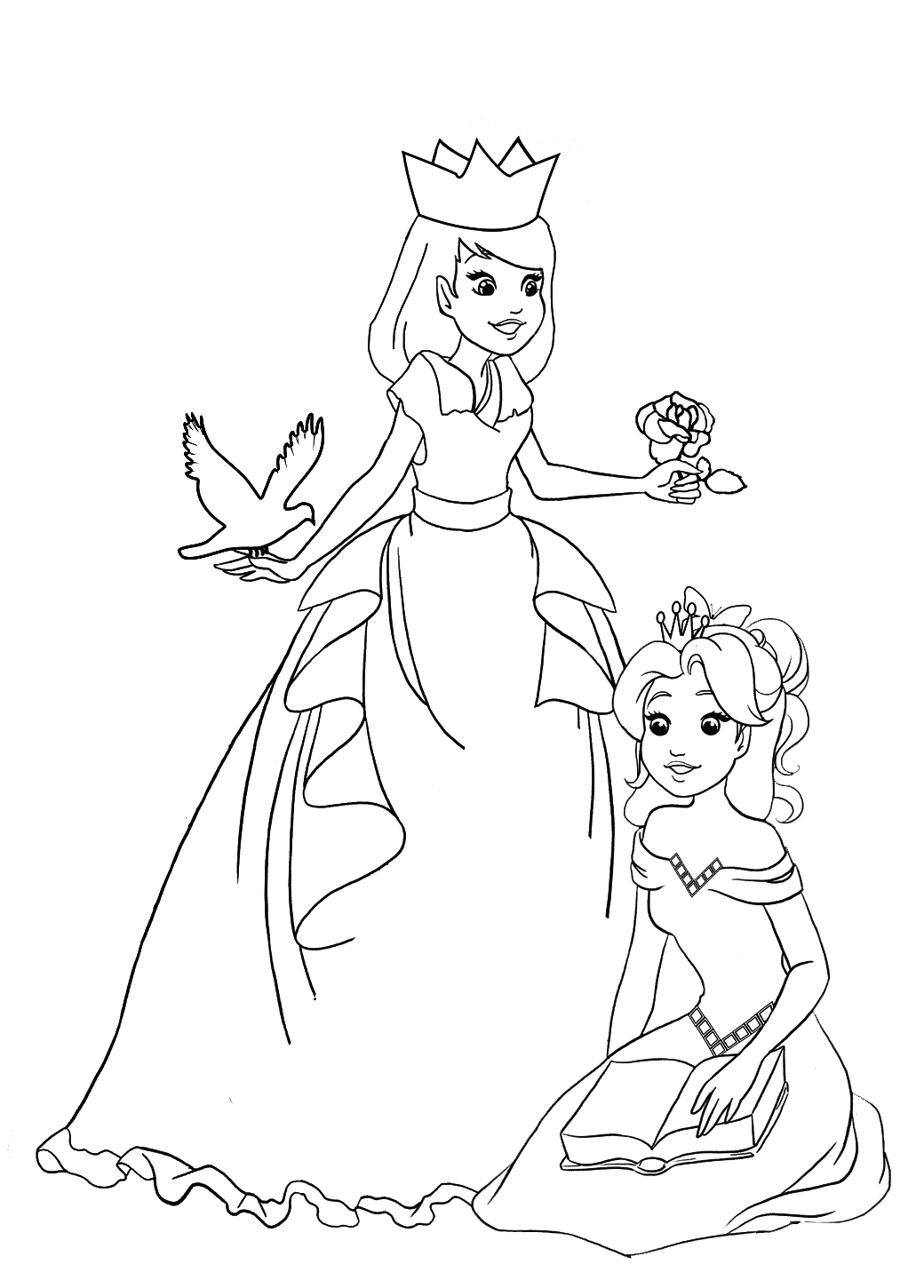 two sweet princesses to color