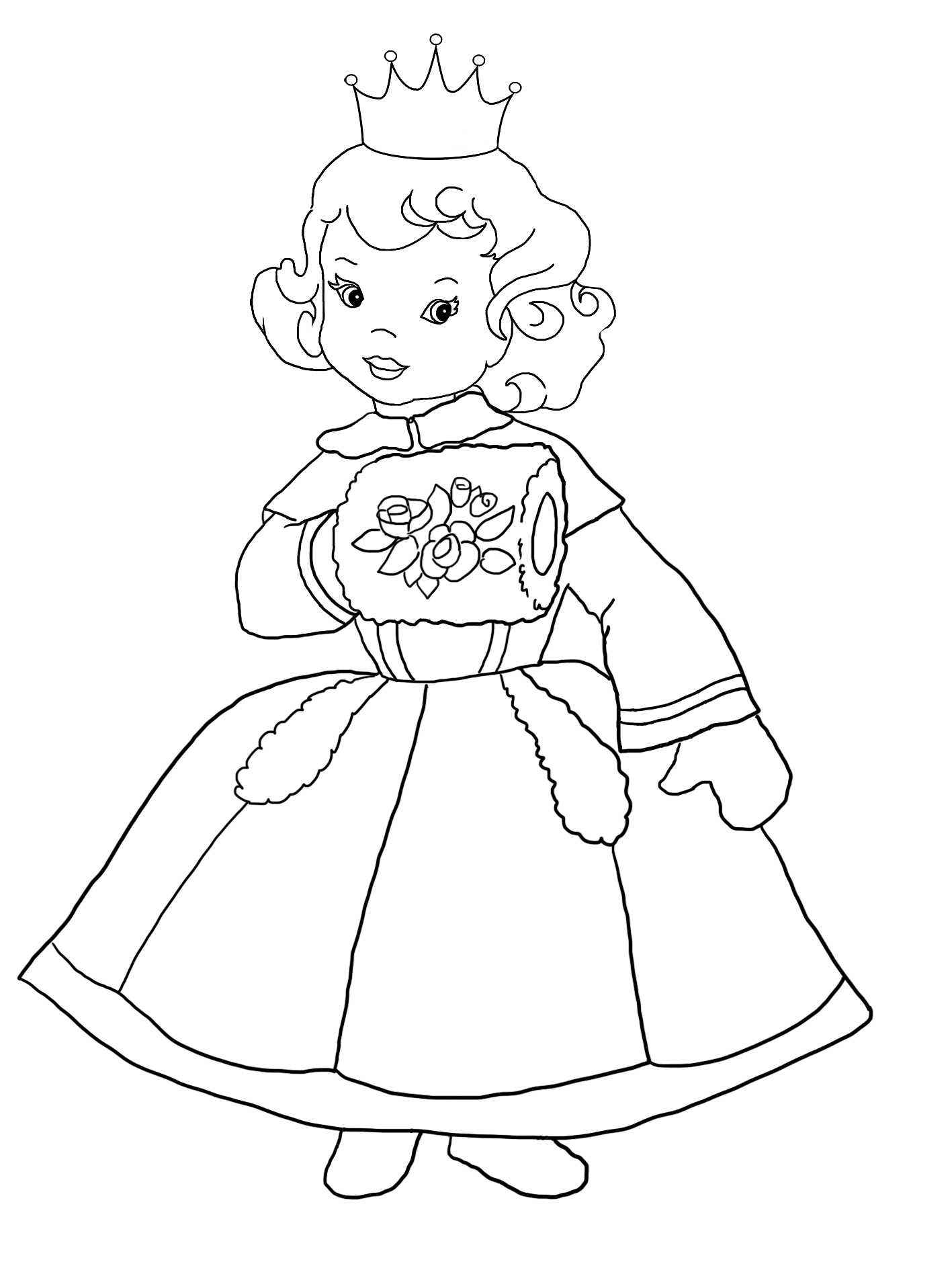 coloring sheet of princess in winter dress