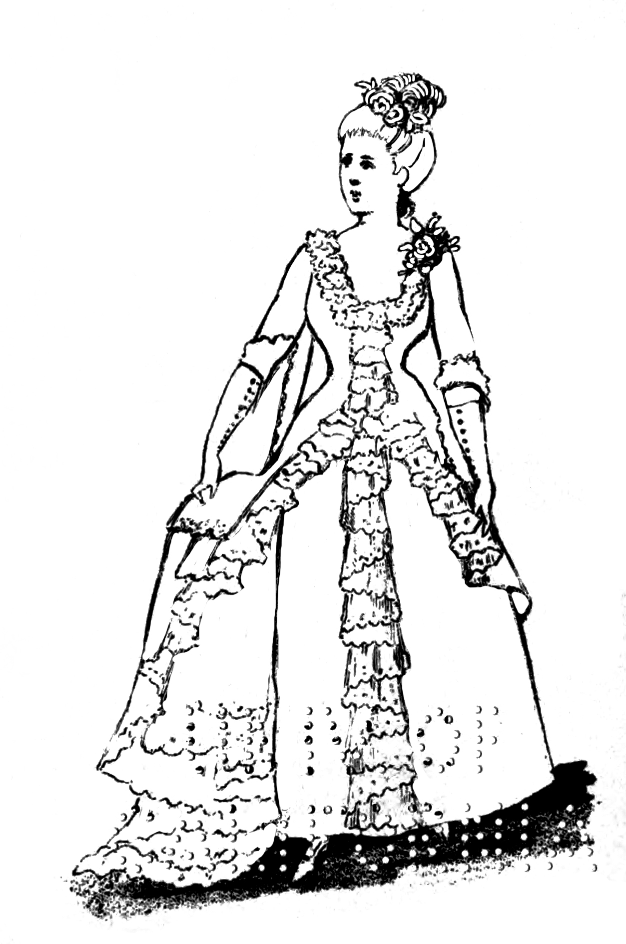 Victorian printable coloring picture dress