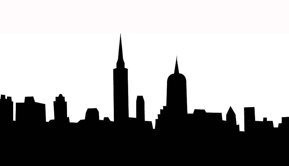 silhouette clipart of towers and houses