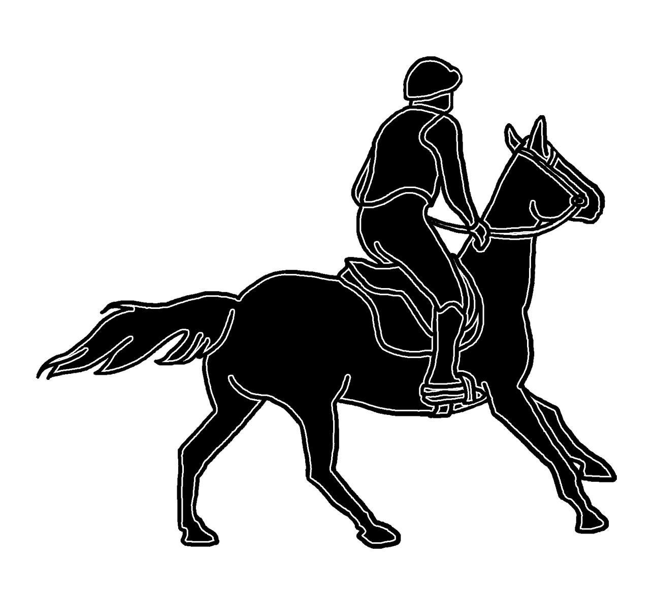 horse and horse rider silhouette
