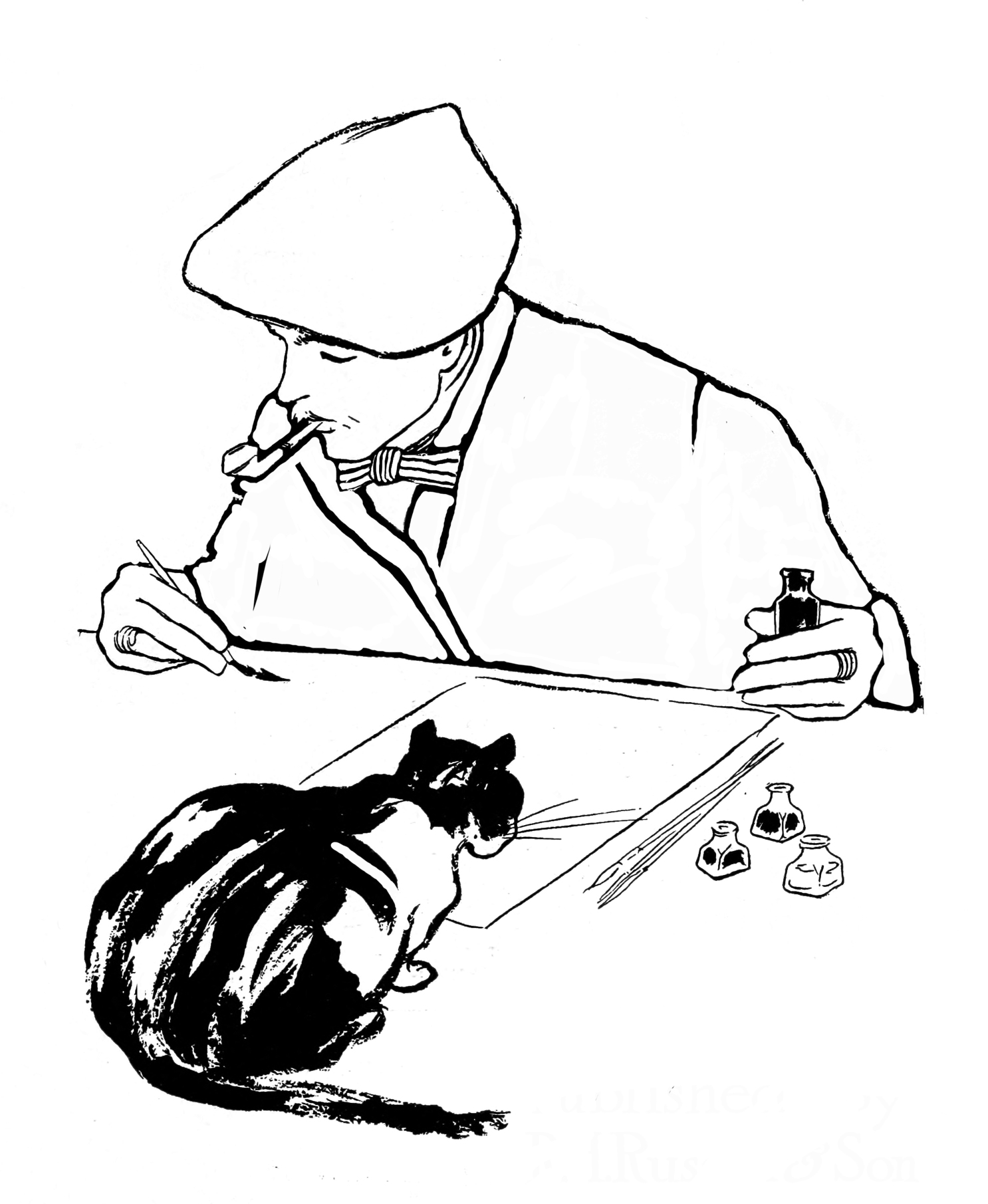 easy coloring page of an artist 1897