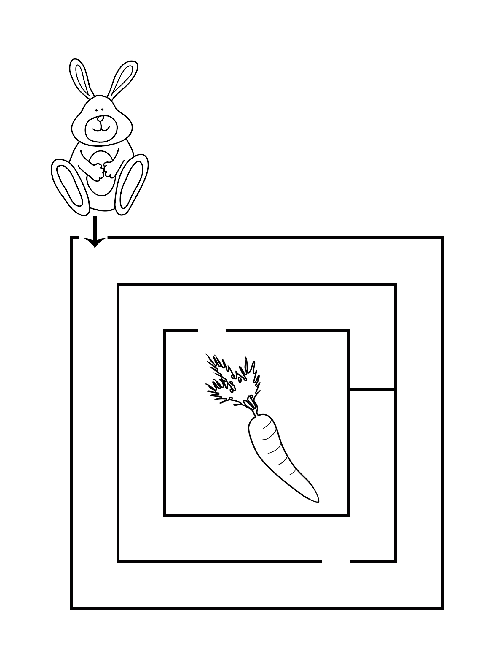 printable maze for kindergarten rabbit carrot