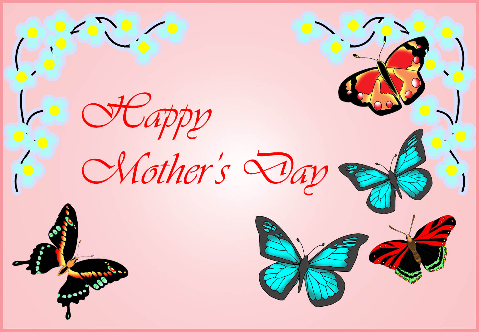 free Mother's Day card with butterflies and flowers
