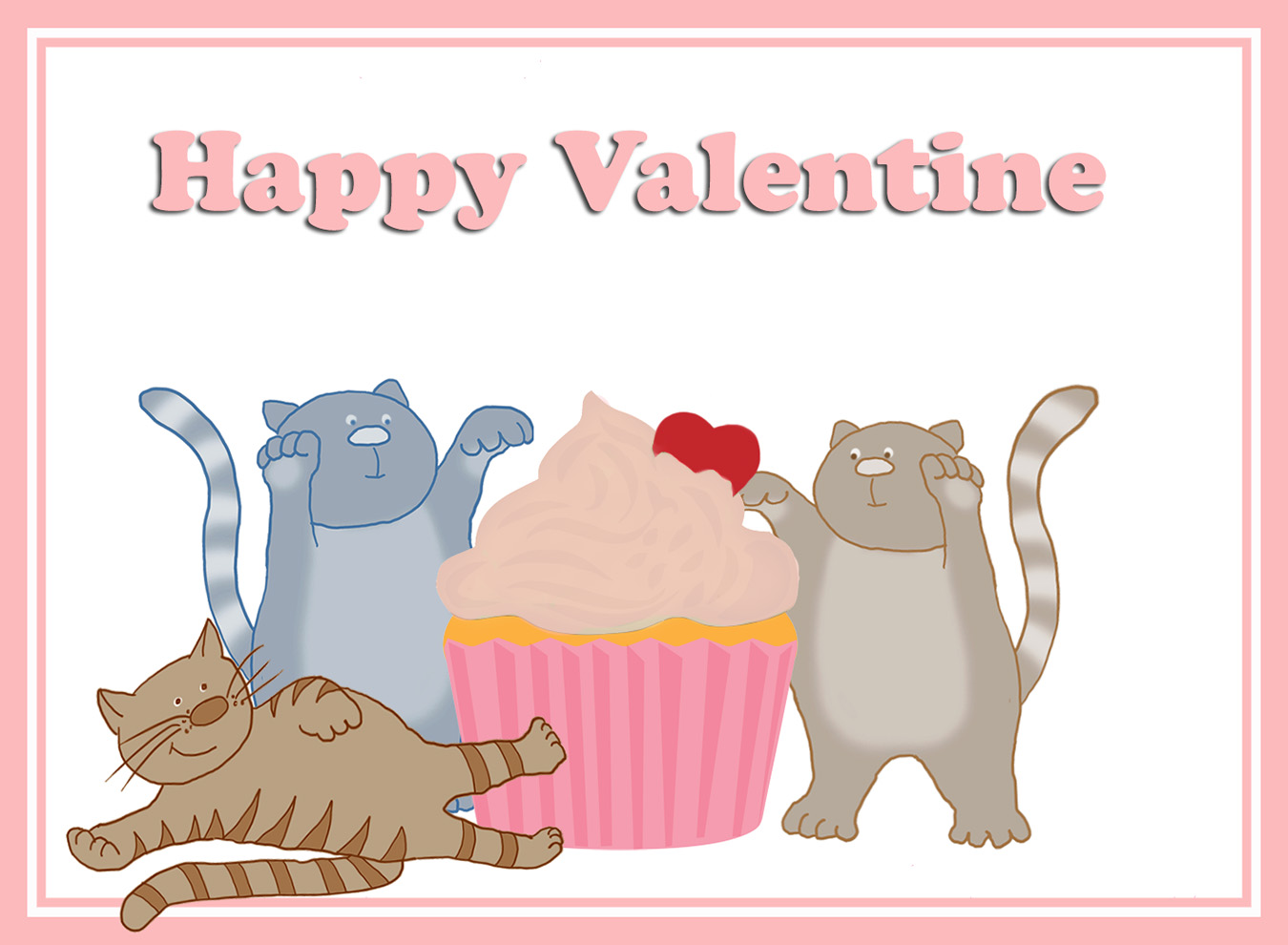 Valentine card with cupcake and cats