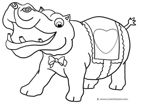 Funny hippo with Valentine heart
