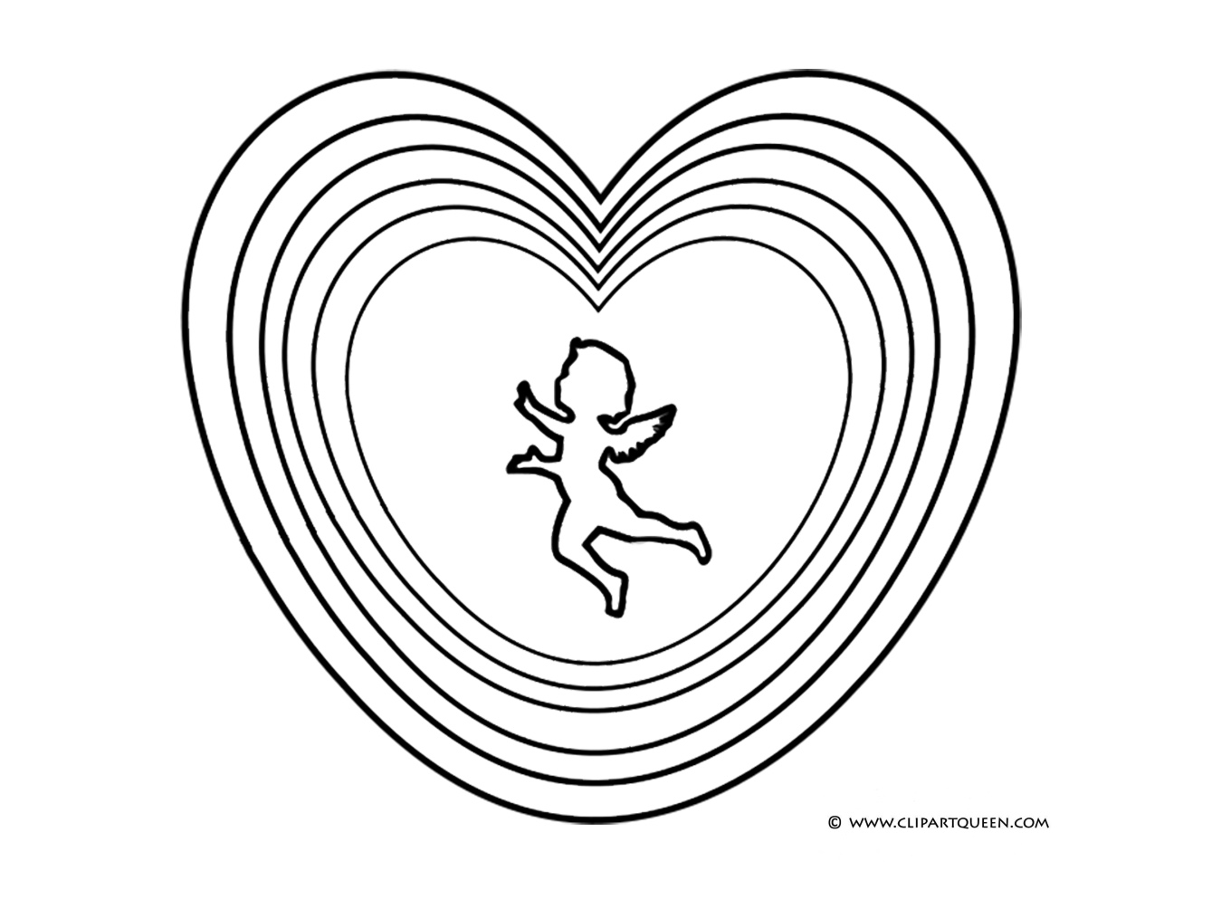 Cupid silhouette in shapes of hearts