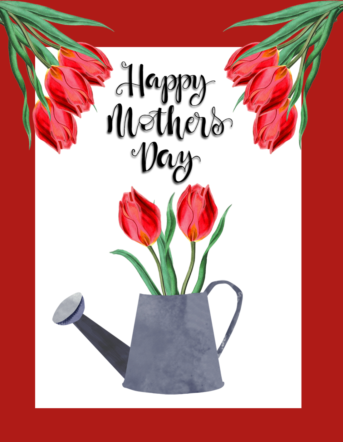 Happy Mother's Day card tulips watering can