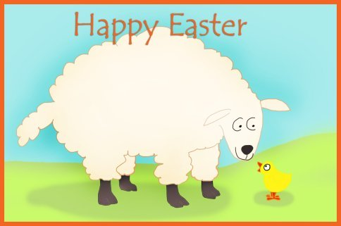 Funny Easter card with lamb and chicken