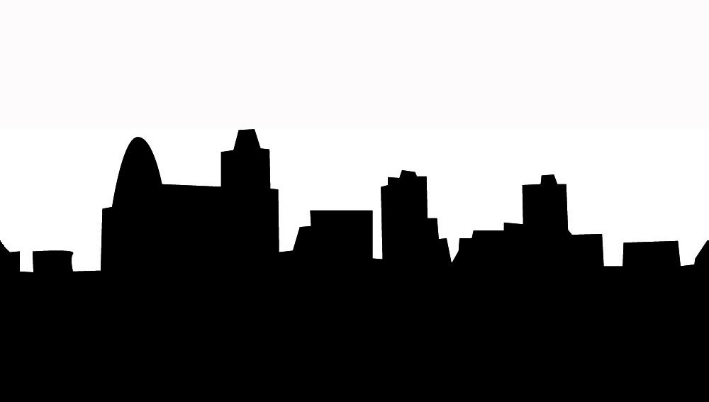 Simple black white skyline silhouette