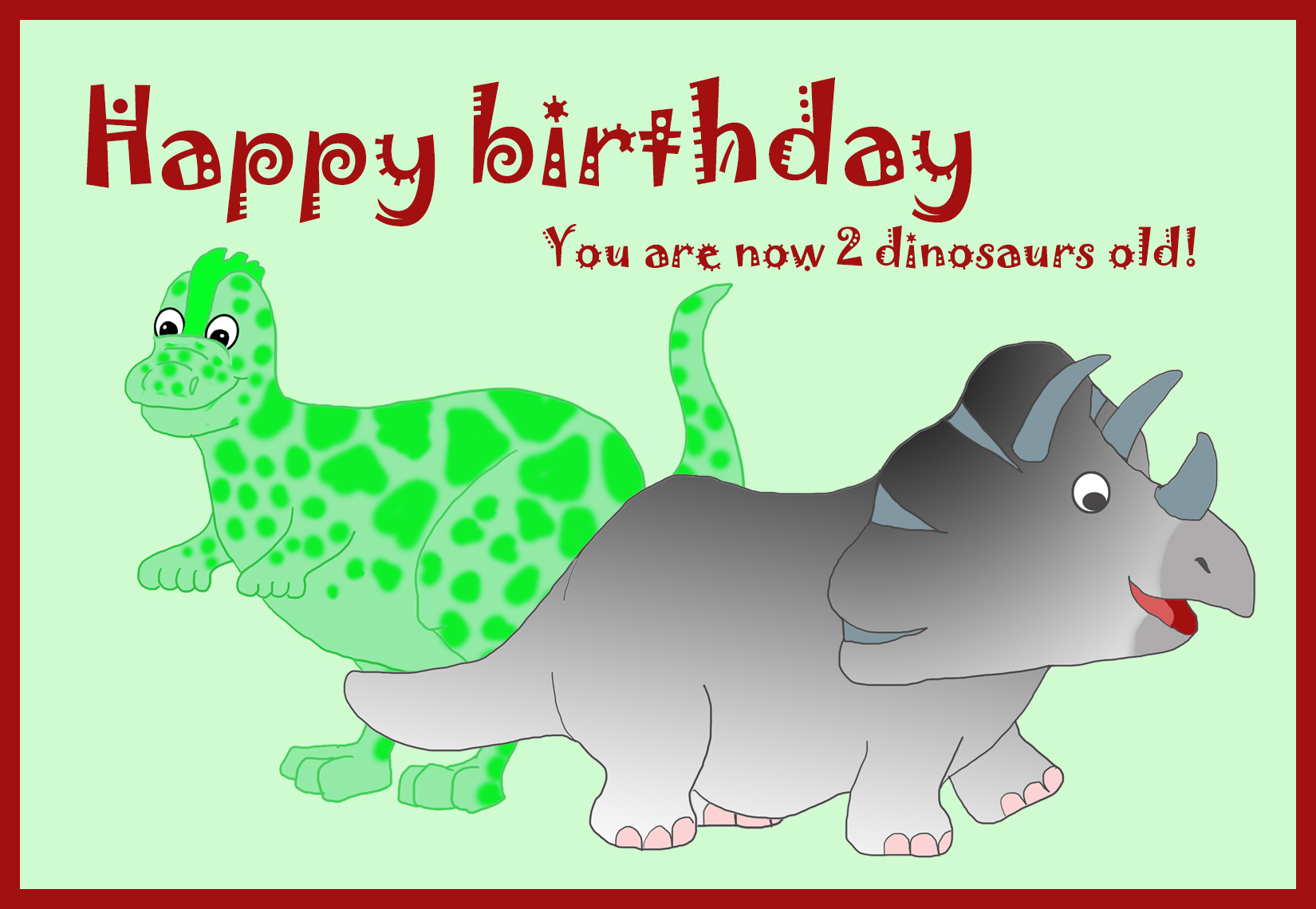 2nd birthday greeting card dinosaurs