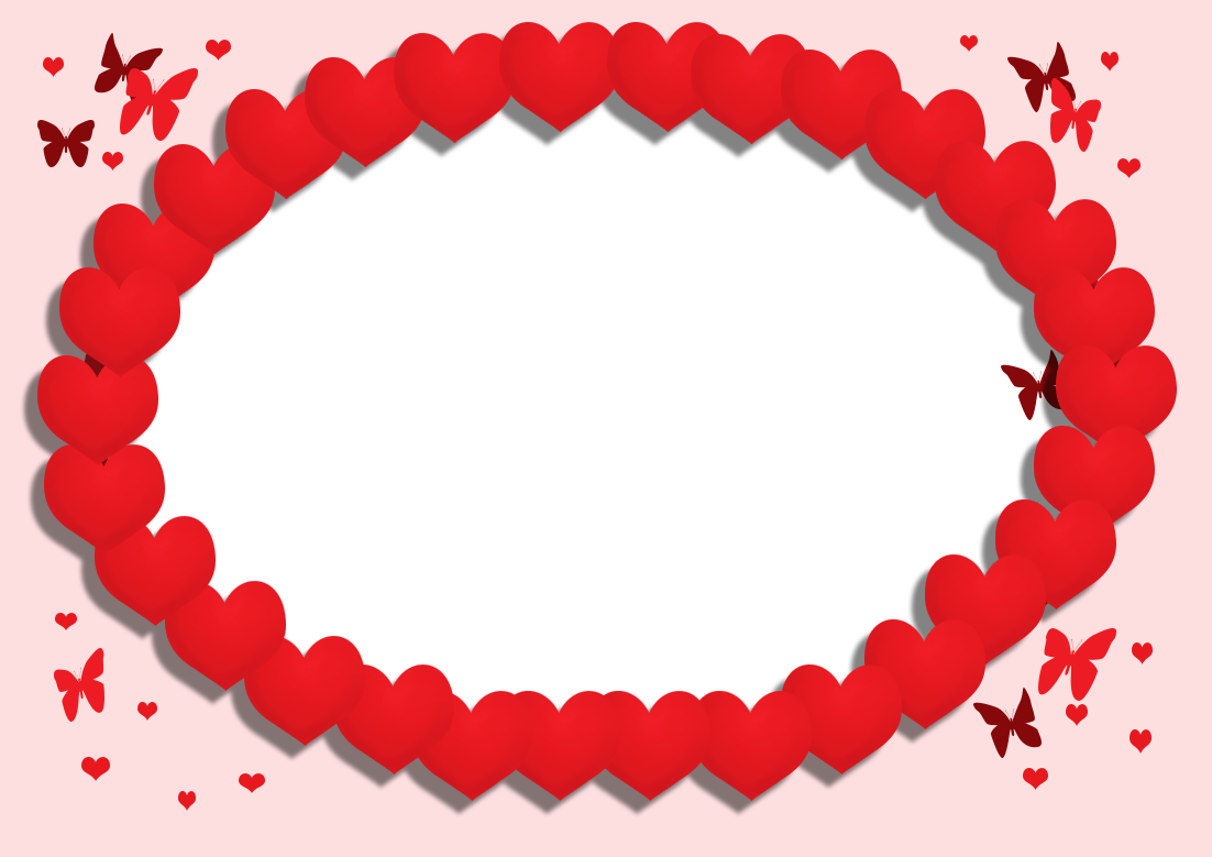 butterflies and red hearts frame