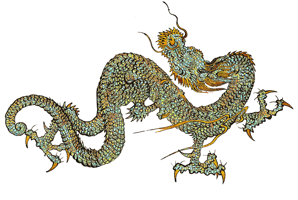 gold and silver dragon in fight