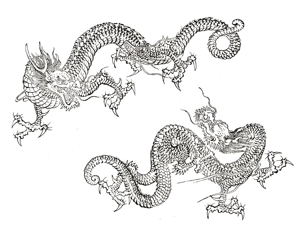 two Japanese dragons in fight