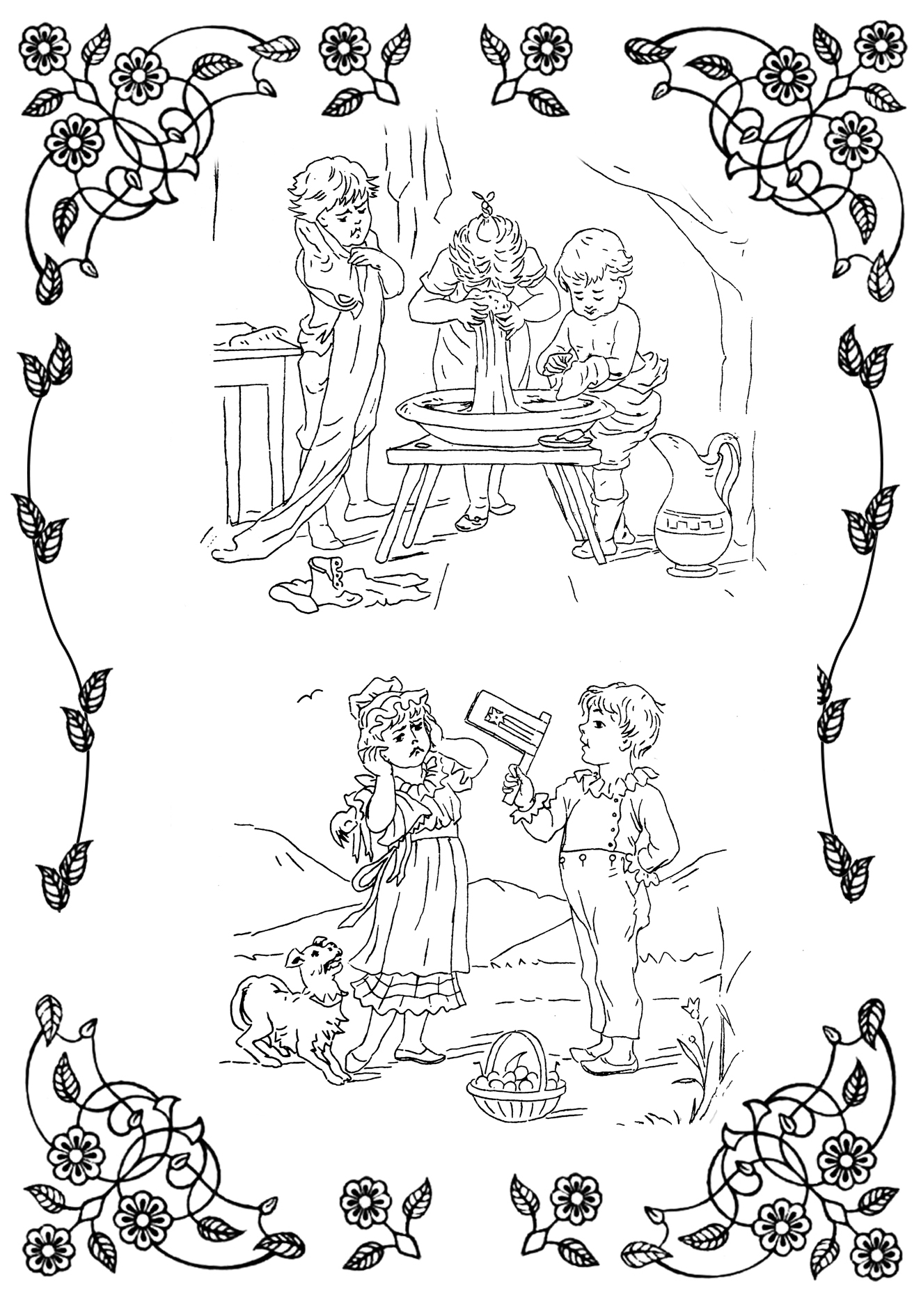 two coloring pictures 19th century children