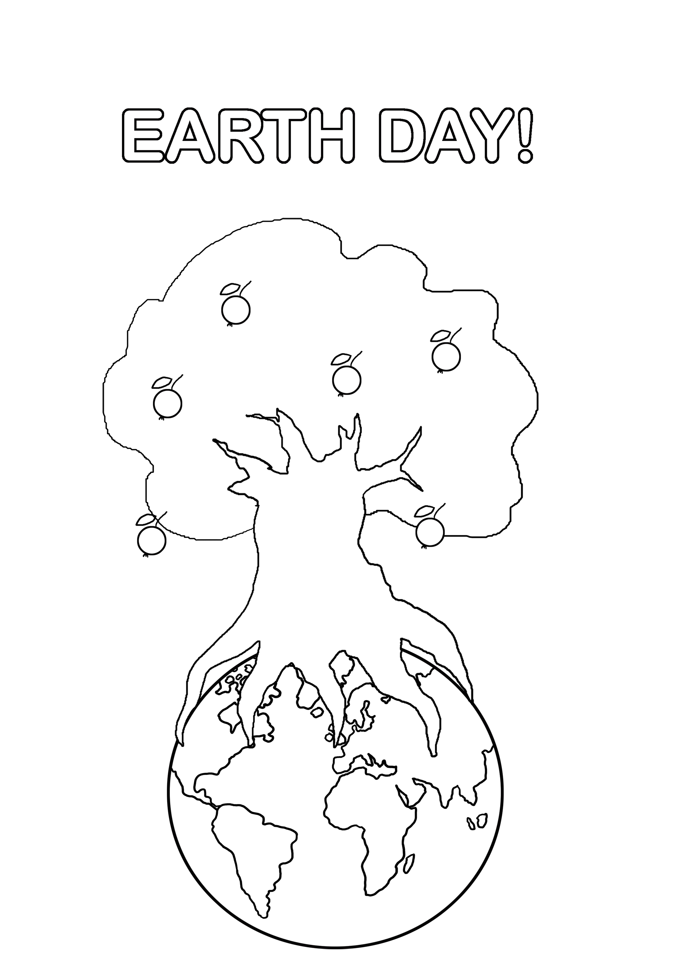 earth day coloring tree with apples