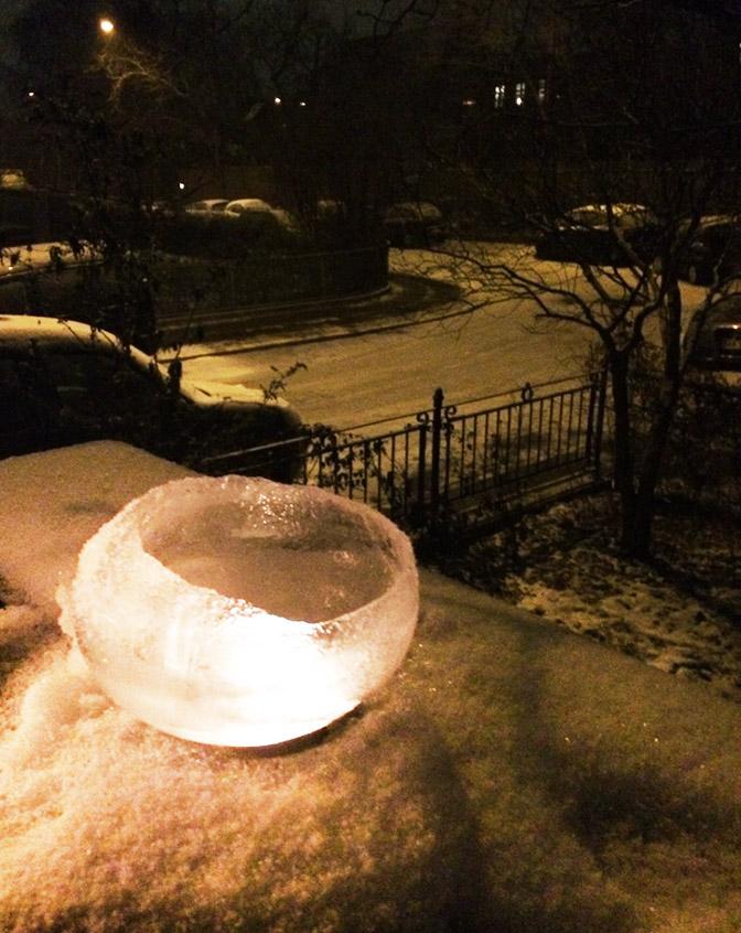 picture of ice lantern in winter scene